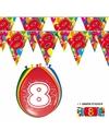 2x 8 jaar vlaggenlijn + ballonnen