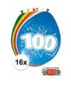 Versiering 100 jaar ballonnen 30 cm 16x + sticker